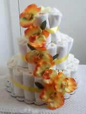 3 Tier Diaper Cake Yellow Floral Flower Baby Shower Centerpiece - Unisex