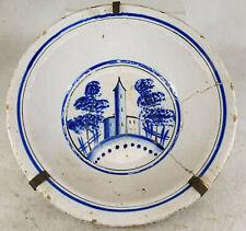 Antique Dutch Delft Faience Majolica Maiolica Bowl Staple Repaired
