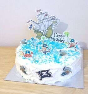 Pirate Ship Cake Scene Stand Up Toppers Edible Party Decorations cup