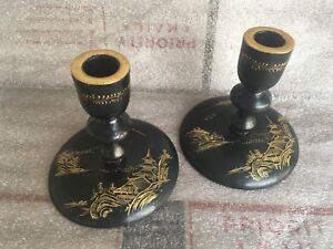 Pair Antique Vintage Mount Fugi Hand Painted Candle Holders