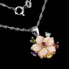 Unheated Round Rhodolite Amethyst Gems Mop 925 Sterling Silver Flower Necklace
