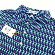 Peter Millar Summer Comfort Stretch Colorful Striped Polo Shirt Mens Large