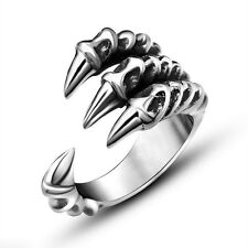 New Charm Men's Titanium Steel Fashion Gothic Punk Skull Head Biker Finger Rings