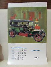 ancien calendrier 1964 peugeot publicitaire pub illustré