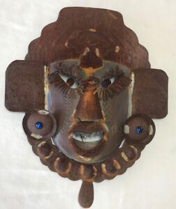 Metal Art Folk Mask Modern Sculpture Artwork Face Primitive 3D Deity God OOAK