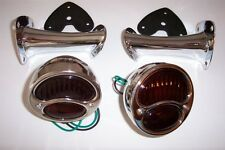1928-1931 Ford model A taillight kit, stainless lights with glass lenses.