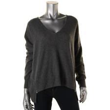 Aqua 7544 Womens Gray Cashmere Zip-Detail Pullover Sweater Top M BHFO