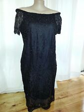 BLACK off the shoulder short sleeve floral LACE over lined dress size 18 NEW