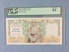 Greece 106-A - 1,000 Drachmai; 1935; PCGS Graded 63