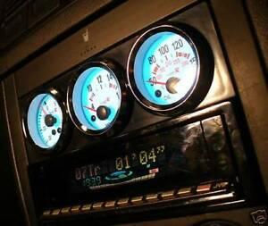 Gloss Black Single DIN radio triple 52mm gauge pod panel, facia panel