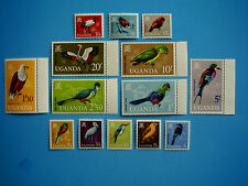 UGANDA 1965 BIRDS Complete Set of 14 values  5cents to 20shillings MNH.