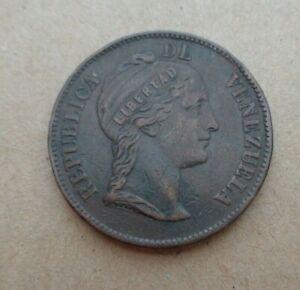 VENEZUELA coin 1862  1 centavo  Y7 Copper Heaton Mint 3-year type Coin