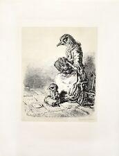 A. Paul Weber: Vögel als Bettelmusikanten. Original-Lithografie, signiert/numm.