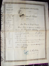 PERMIS DE CHASSE 1873 - VAR - TOULON