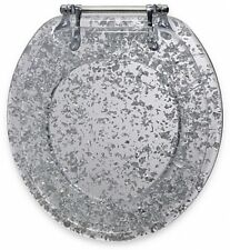 Ginsey Elegant Silver Foil Resin Toilet Seat Fits Most Standard Toilets