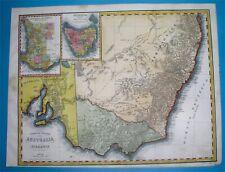 1853 DETAILED ORIGINAL MAP AUSTRALIA SYDNEY TASMANIA MELBOURNE NEW SOUTH WALES