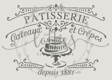 A4 Stencil PATISSERIE Fabric Furniture French Vintage Shabby Chic 190 MYLAR  ❤
