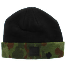 Diamond Supply Co Camo and Black Fold Beanie with Black Leather Patch