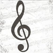 2 Serviettes en papier Musique Partition Clé de Sol Paper Napkins I love Music