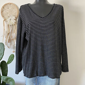 Ralph Lauren Womens Shirt Plus Size 3X Long Sleeve Striped Black Silver CasualG7