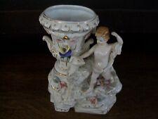 Vintage Art Nouveau Porcelain Vase with Borzoi and Child