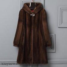 Luxury Ladies Mink Fur Hooded Whole Skin Winter Warm Mid Long Jacket Coat S-6XL
