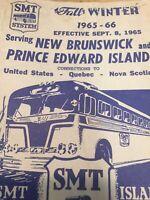 1965 New Brunswick, Prince Edward Island Bus Schedule Vintage Brochure M1