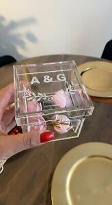 Personalized Wedding Ring Box Acrylic Ring Holder Box Custom Ring Pillow Box