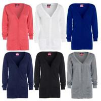 Womens New Button Up Boyfriend Cardigan Top Ladies Long Sleeve Pocket Cardi 8-24