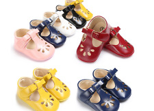 Baby Boy Girl Soft Sole T- Bar Crib Shoes Toddler Mary Jane Shoes Newborn to 18M
