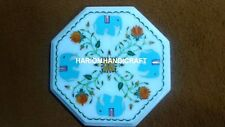 12'' Turquoise Elephant Marble Coffee Table Top Semi Precious Inlaid Decor M234