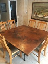 Distressed Hand Hammered Square Copper Top Dining Room Table & Wood Chairs