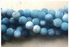 8mm Dream Fire Dragon Veins Agate Loose Beads 15