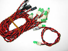 """10 x 5mm Green Diffused LEDs 3v with 13"""" Leads - LED Lights Diode Leaded Wired"""