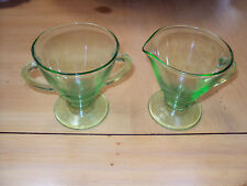 ANTIQUE DEPRESSION  GREEN  SUGAR  &  CREAMER  3 1/2'' TALL NO CHIPS OR CRACKS