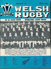 WELSH RUGBY MAG JAN 1979 BRIDGEND & MONMOUTHSHIRE V NZ ALL BLACKS, RAY PROSSER