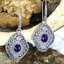 wunderschöne kostbare Amethyst Ohrhänger 925 Silber Handgeschmiedet Ohrringe