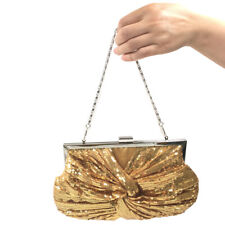 Women's Gold Sequins Evening Bag Wedding Bridal Party Prom Clutch tote Handbag