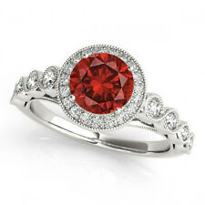 1.36Cts Fancy Designer Ring Red Diamond Halo14k White Gold Valentineday Spl.Sale