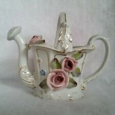 """Ceramic Watering Can White w/Gold Trim and Pink Roses approx 5¼"""" Tall Japan"""