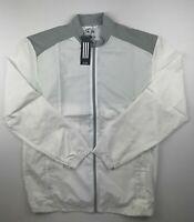 Adidas Mens Medium White Gray 3 Stripe Life Full Zip Light Wind Golf Jacket $75