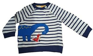 Ex John Lewis Striped Jumper Sweatshirt Applique Baby Dino Fox 0-4Years NEW