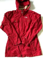 The North Face Hyvent Womens Long Zip Up Belted Rain Wind Jacket Large Red TNF
