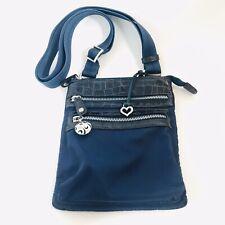 💜Brighton Mini TWISTER GO GO Navy Blue Nylon Croco Crossbody Handbag Purse NWOT