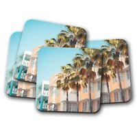 4 Set - South Beach Miami Coaster - America Florida Holiday Travel Gift #16517