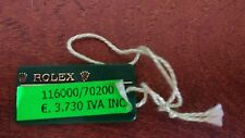 Vintage ROLEX Green Hang Tag Sello 116000 / 70200 OYSTER SWIMPRUF Showcase Tag