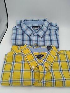 Chaps Easy Care Lot of 2 XXL Short Sleeve Plaid Shirts ~ 1 blue 1 yellow   EUC