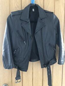 H&M Real Leather Biker Jacket Size 6 8 10