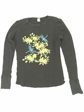BLACK YELLOW DRAGONFLY FLOWERS THERMAL YOGA long sleeve T-Shirt Size MED COOL