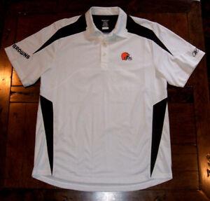 Cleveland Browns White Reebok Play Dry Medium Big & Tall Polyester Polo Shirt